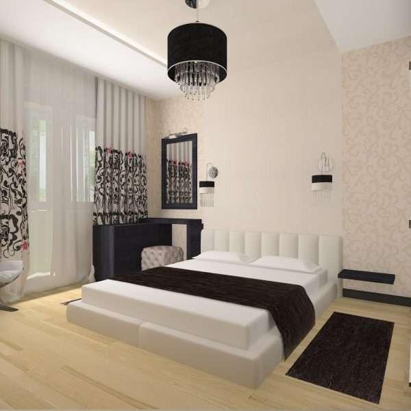 Стиль модерн в спальне 4 на 3