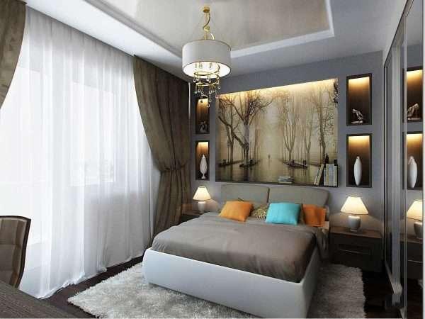 Дизайн спальной комнаты колоннами