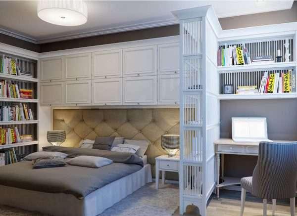 Открытые полки в спальне без окон