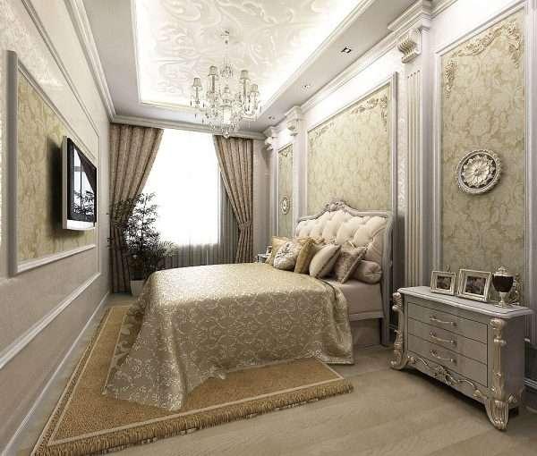 Дизайн спальни в классическом стиле: вариант использования молдингов