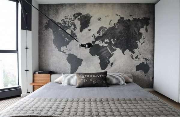 """Фотообои """"Карта мира"""" для оформления спальни"""