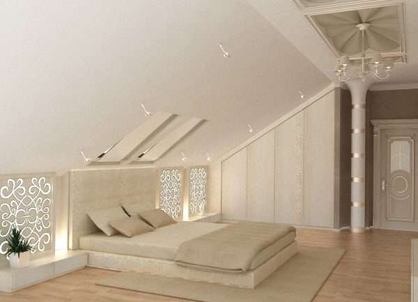 Небольшие светильники в спальне на мансарде