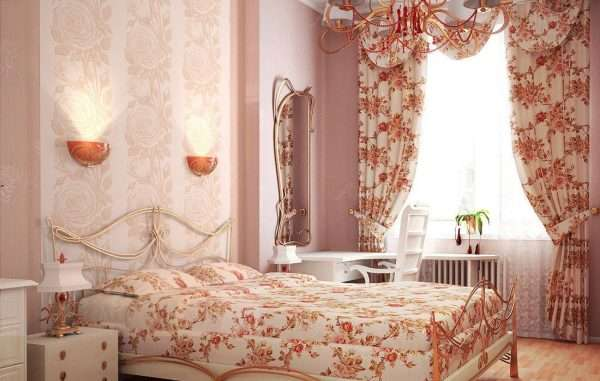 Шторы из плотного хлопка в спальне в стиле прованс