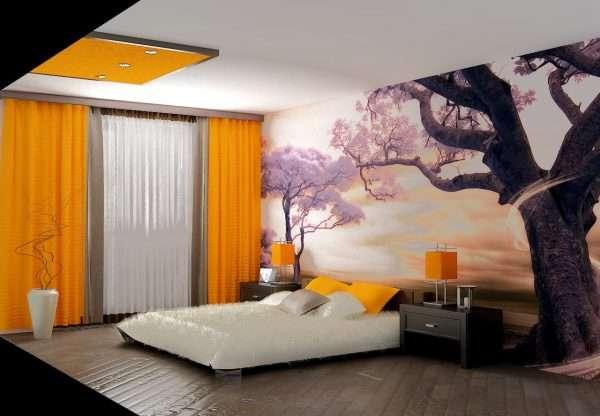 Оформление акцентной стены в спальне фотообоями