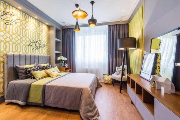 Элементы декора в дизайне спальни 15 м