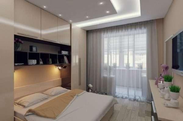 Белый потолок в спальне 12 м