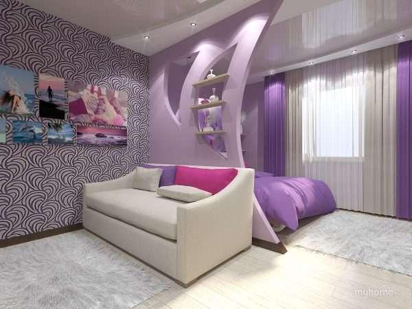 Дизайн прямоуголдьной спальни гостиной