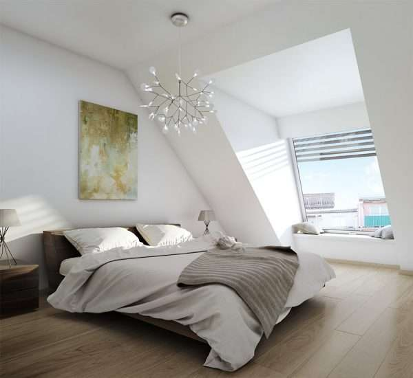 Дизайн спальни на мансарде в стиле минимализм