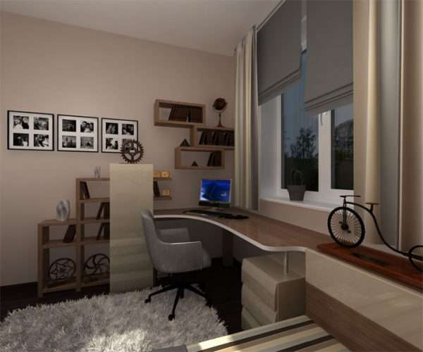 Рабочая зона в спальне для мальчика подроска