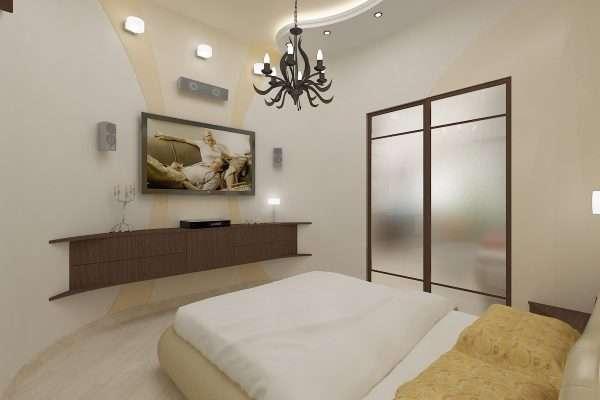 Многоуровневые потолки в спальне без окон