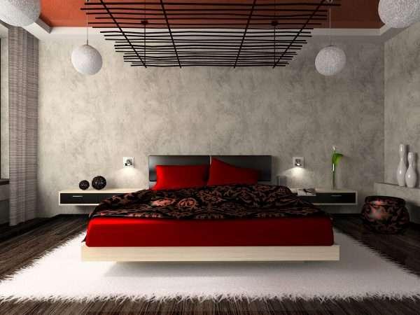 Стиль хай тек. Спальня в красно-белых тонах