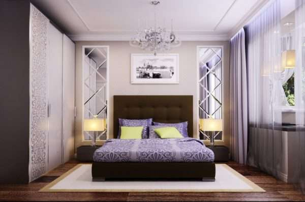 Светлая спальня 12 м . пол - темный ламинат