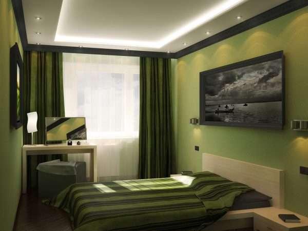 Дизайн спальни в фисташковых тонах