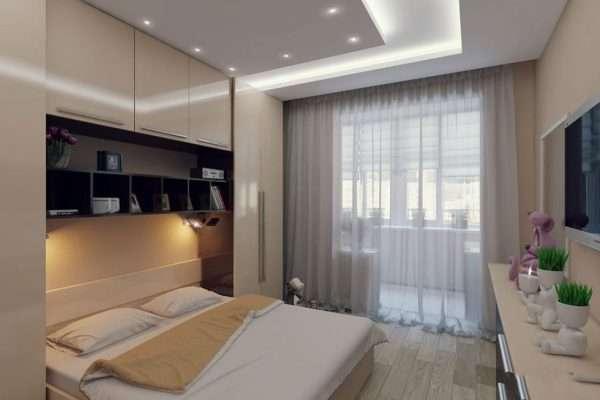 Дизайн проект спальни 14 кв м. с выходом на балкон