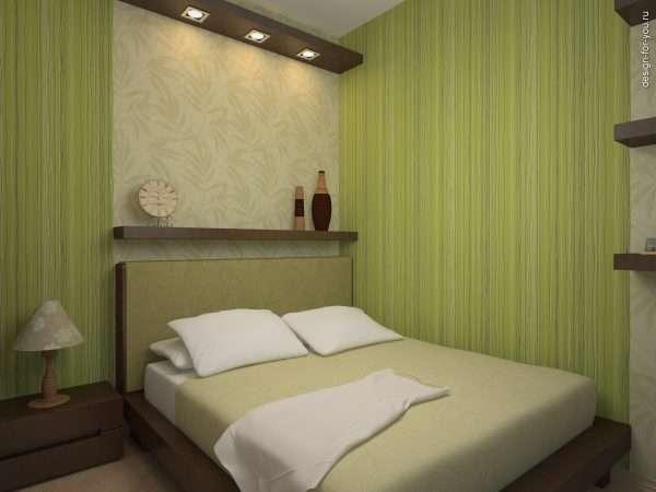 Дизайн маленькой спальни без окон в фисташковых тогах