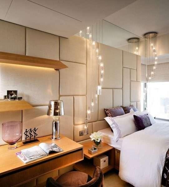 Дополнительное освещение над рабочим местом в спальне
