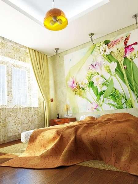 Используем яркие элементы в оформлении маленькой спальни