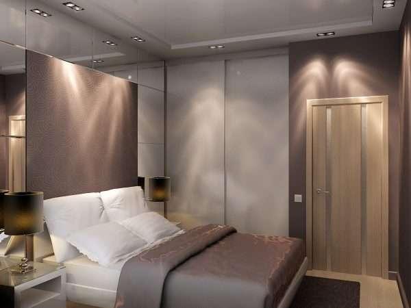 Шкафы купе в интерьере маленькой спальни