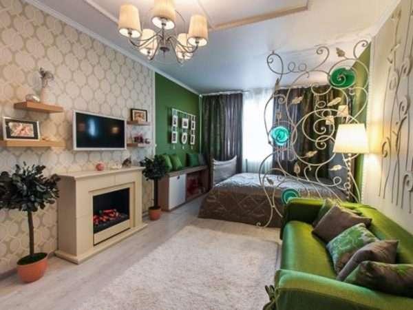 Спальня-гостиная, вариант зонирования