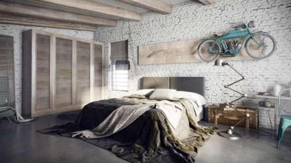 Стиль лофт в дизайне спальни