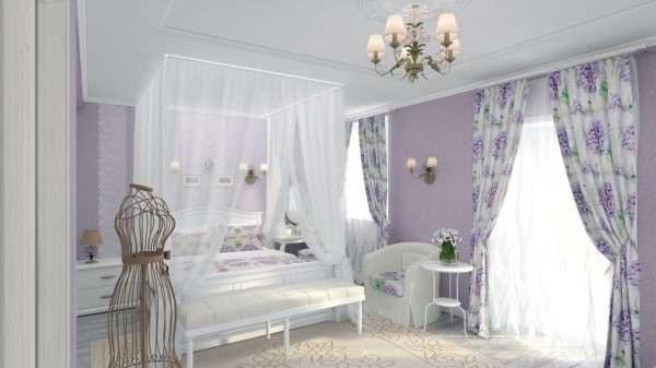 Интерьер спальни в нежно-лиловых тонах, стиль прованс