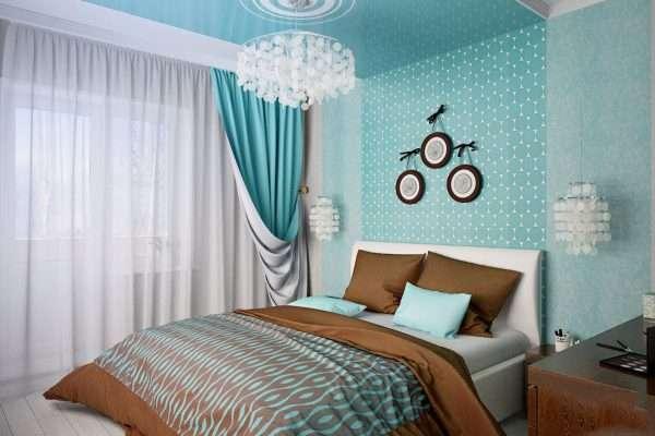 Бирюзово-голубая спальня