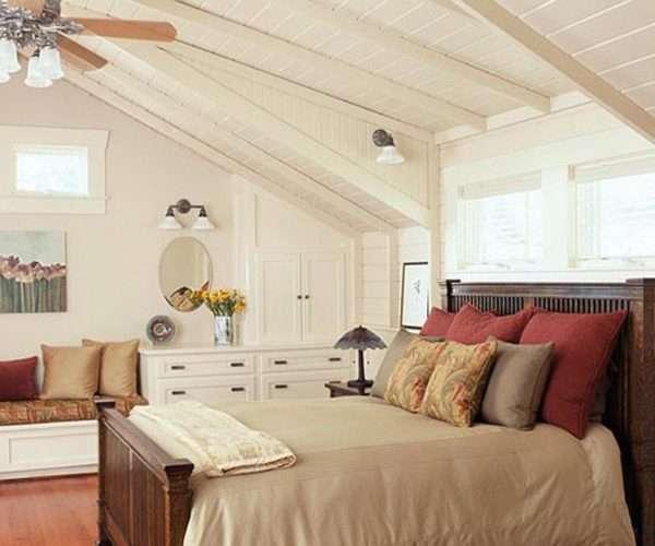 Идеи зонирования спальни на мансарде