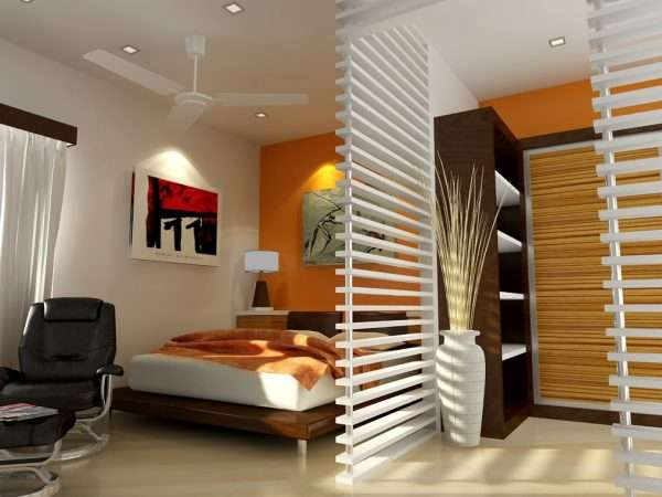 Яркие элементы в декоре маленькой спальни