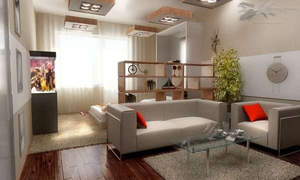 Красивое оформление зонирования спальни и гостиной.