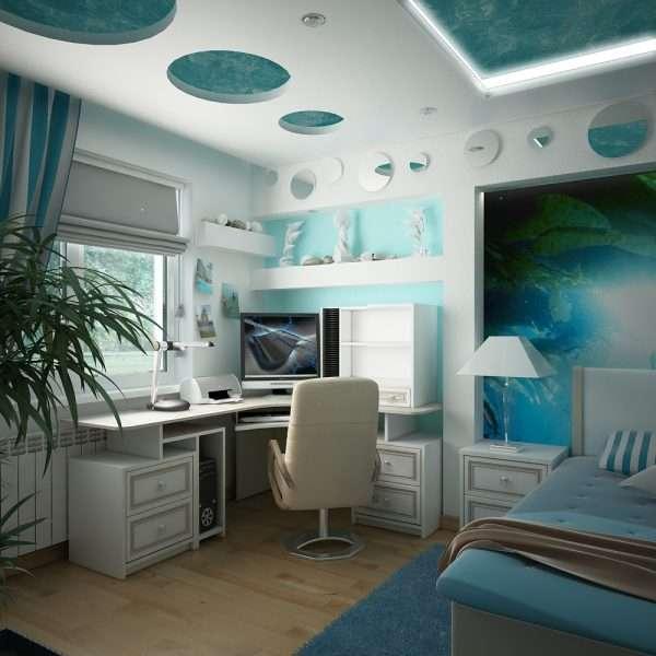 Интерьер спальни для мальчика подростка в стиле хай тек