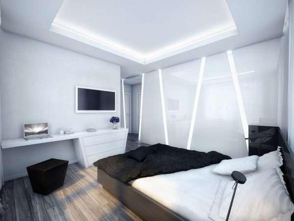 Отделка стен в спальне в стиле хай-тек