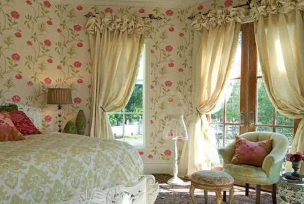 Шторы с рюшами и завязками в спальню в стиле прованс