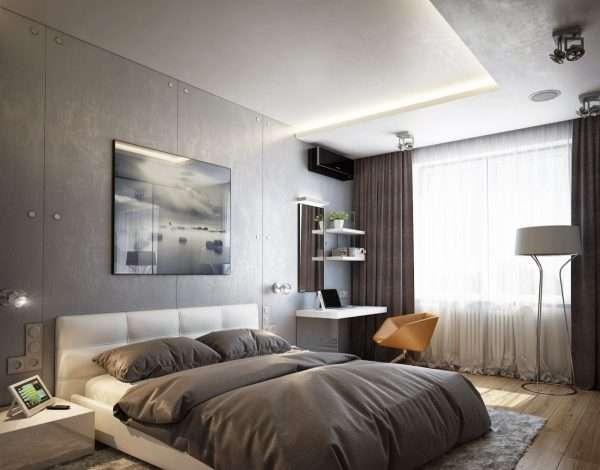 Оформление стен в спальне 13 м