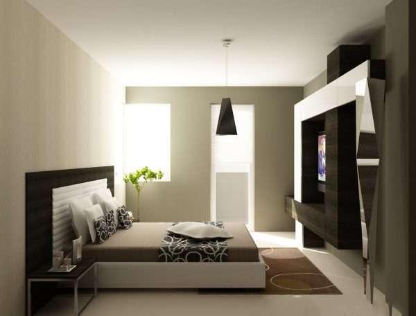 Спальня в стиле хфй-тек в коричневых тонах