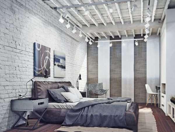 Потолок спальни в стиле лофт