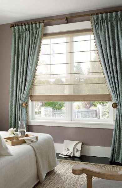 Пример сочетания разных фактур ткани для штор