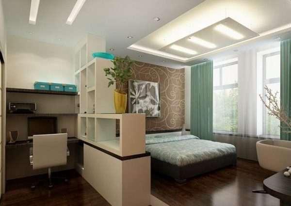 Вариант зонирования спальни 15 м