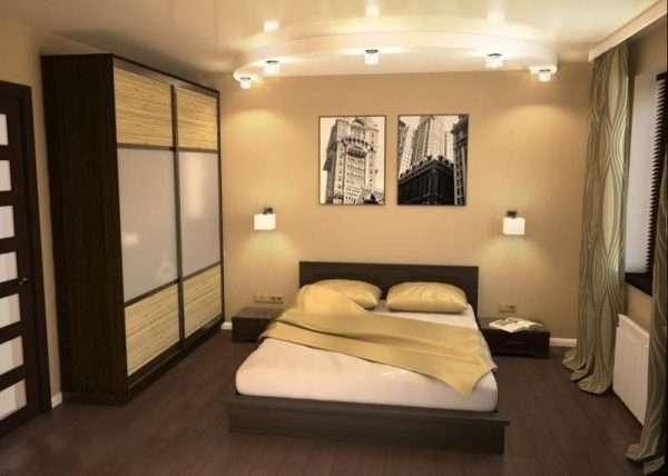 Дизайн спальни 13 кв м в бежевых тонах