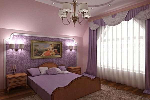 Спальня в сиреневом цвете