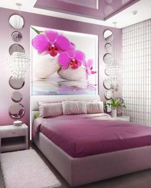 Фотообои на стене в спальне 12 м