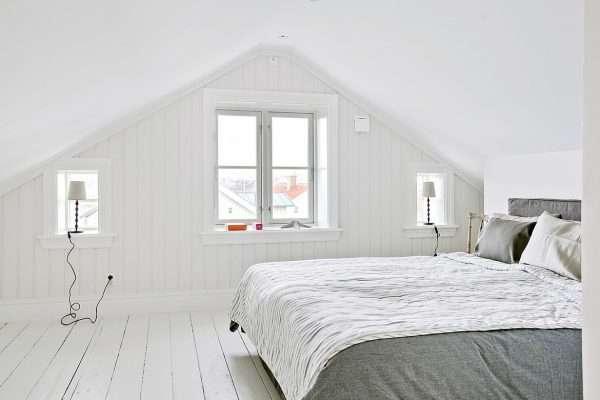 Дизайн спальни на мансарде в скандинавском стиле