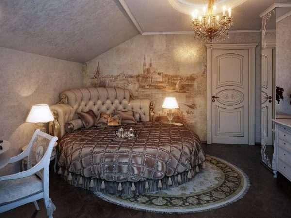 Дизайн спальни на мансарде в классическом стиле