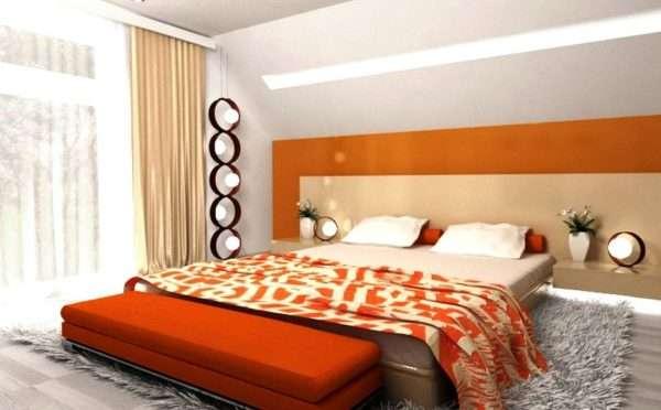 Бежево-оранжевая спальня
