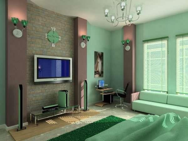 Интерьер гостиной спальне в зеленых тонах