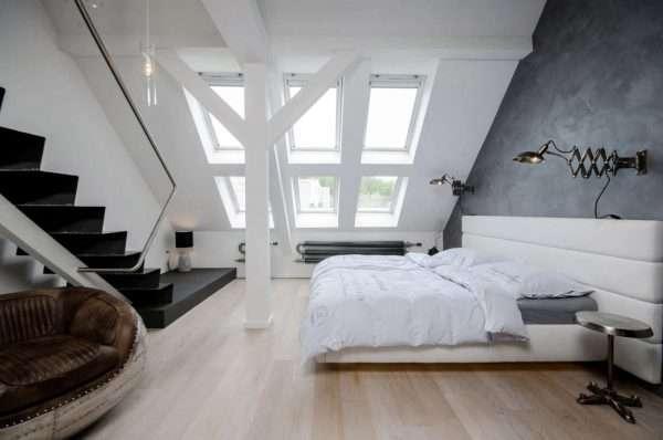 Дизайн спальни на мансарде в стиле лофт