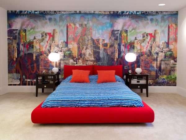 Оформление стены в спальне фотообоями