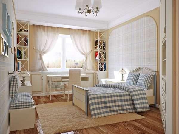 Однотонный ковер создает дополнительный уют в спальне