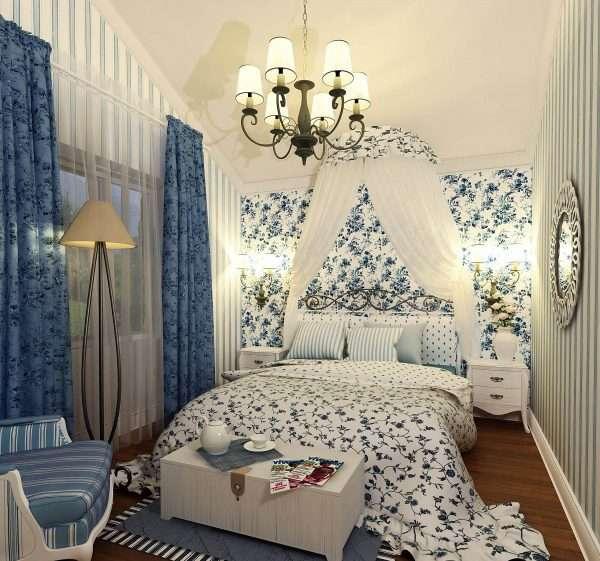 Единая цветовая палитра в интерьере спальни в стиле прованс