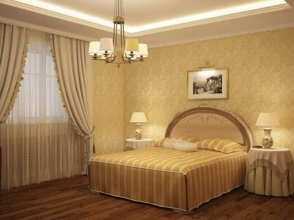 Спальня в желто-кремовых тонах