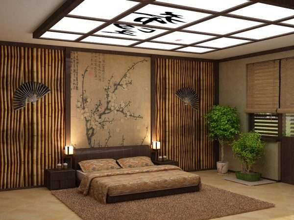 Натуральные материалы в дизайне спальни в эко стиле